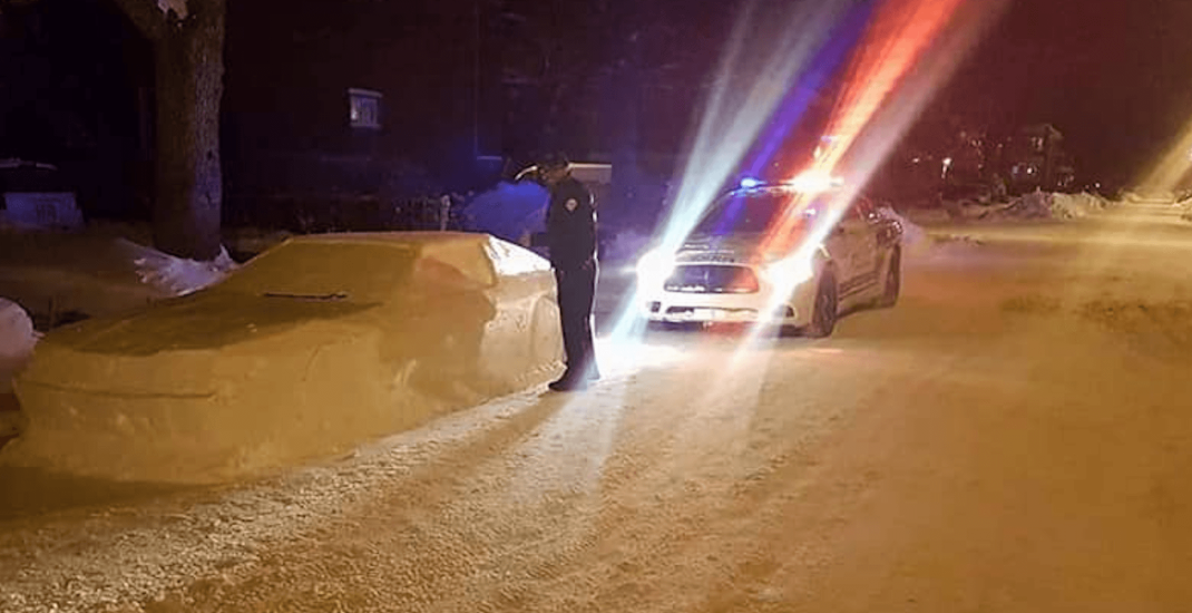 Spotted on Reddit: Canadian cops confused by car made of snow