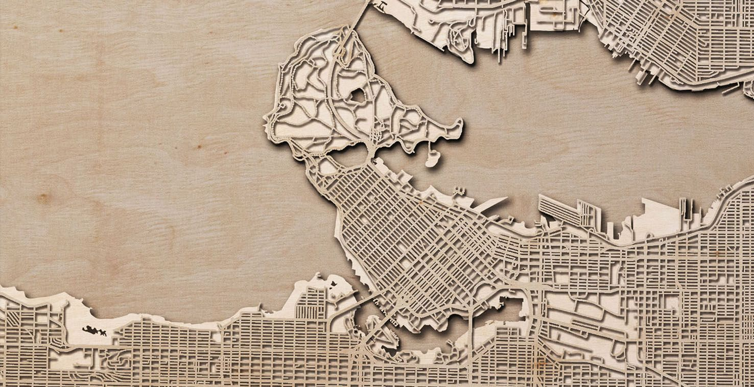 Vancouver wooden map feature