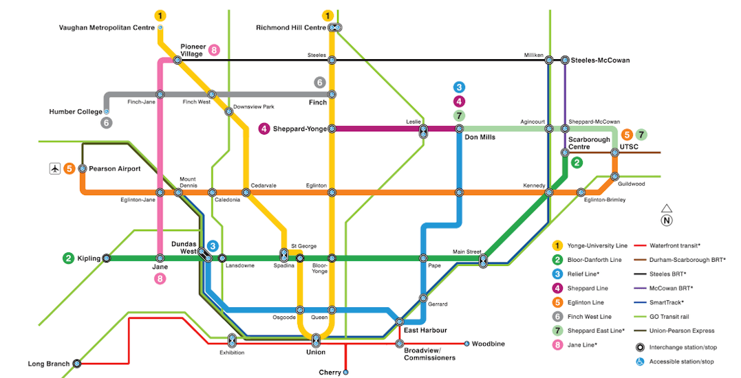 Toronto Subway Map.This Is What The Ttc S Future Map Might Look Like Urbanized