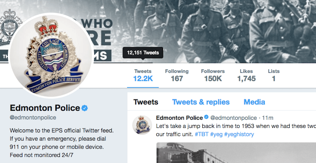 Edmonton may have the most hilarious police Twitter account in Canada