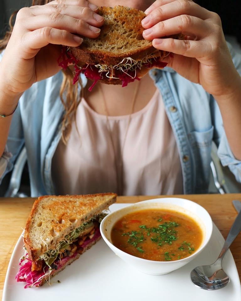soup sandwich vegetarian fresh