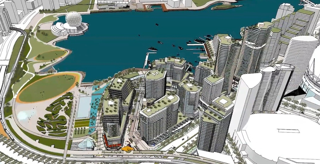 Northeast false creek vancouver aerial rendering