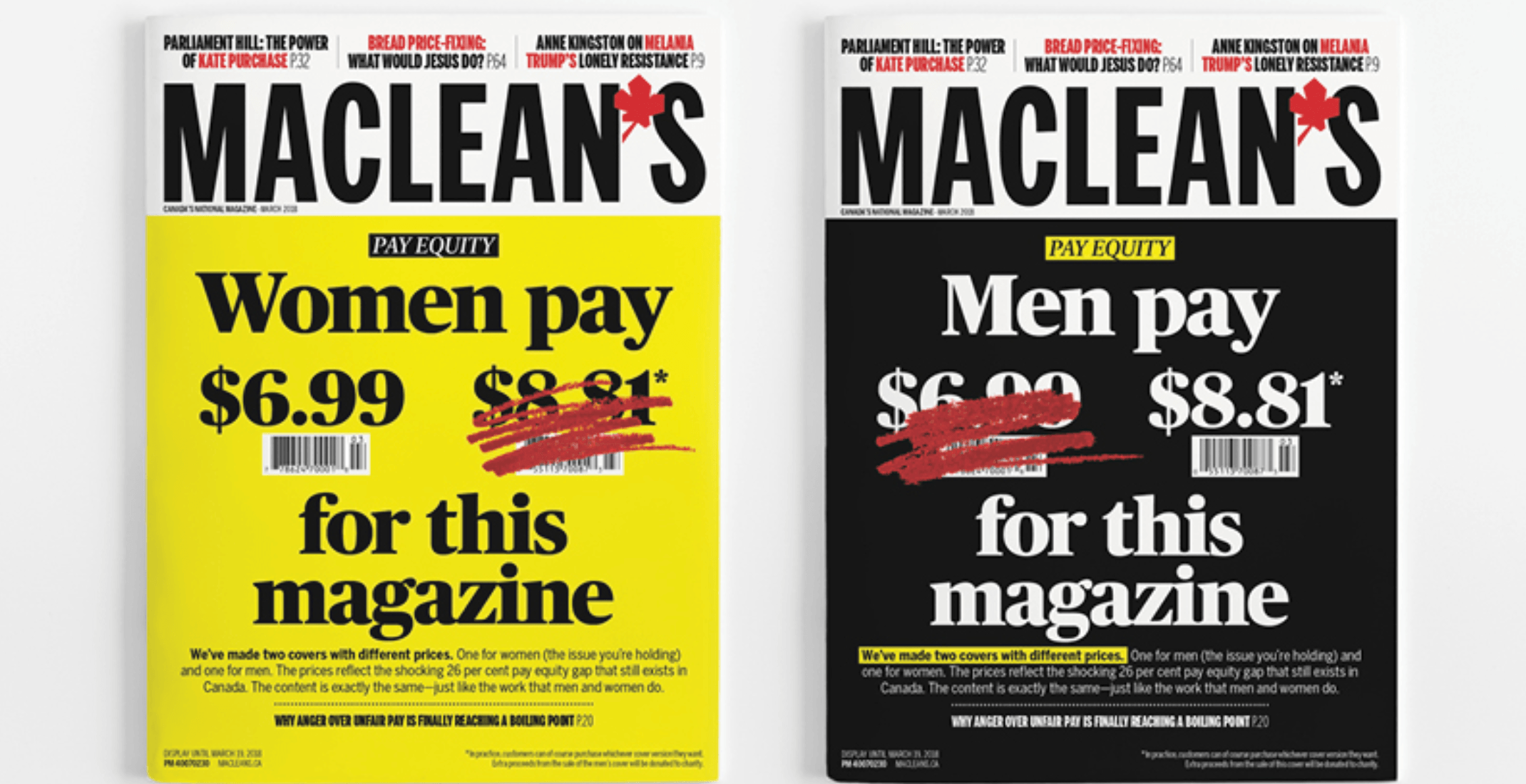 Maclean's asks men to pay 26% more for same issue to address gender pay gap