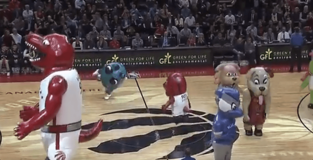 A hilarious mascot dance party went down at the Raptors game last night (VIDEO)