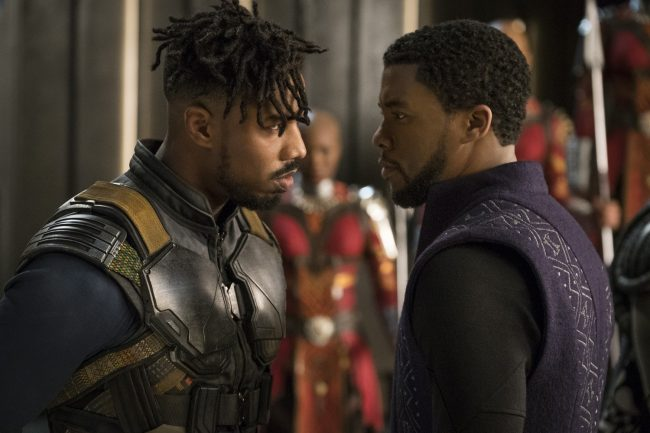 Michael B. Jordan as Erik Killmonger and Chadwick Boseman as T'Challa/Black Panther