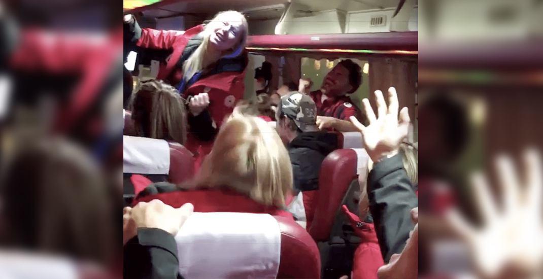 Team canada singing bus olympics celine dion