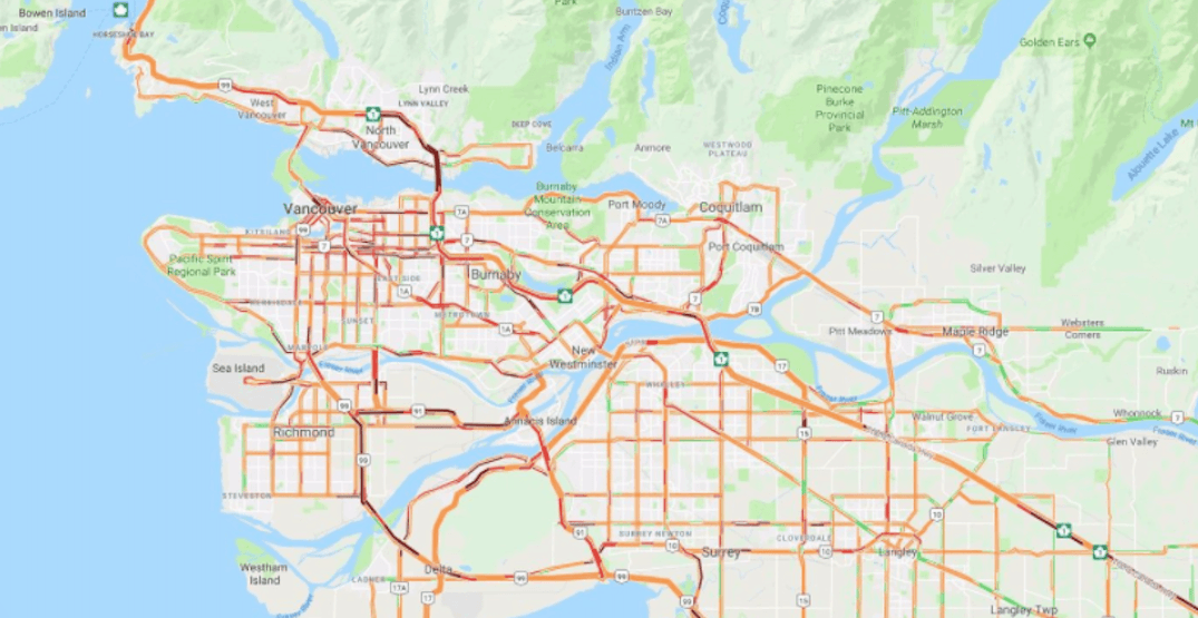 This is what Metro Vancouver traffic looks like right now