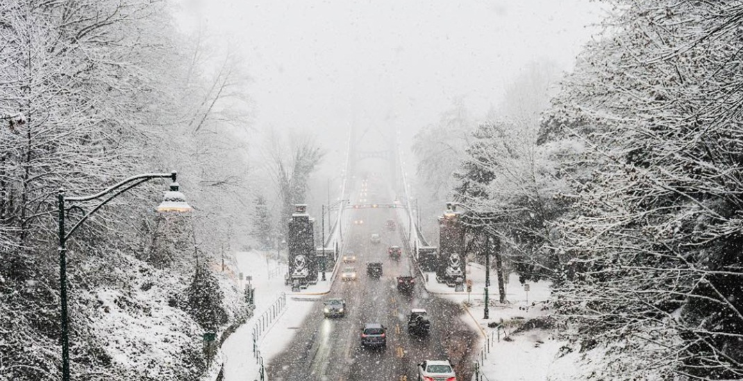 Vancouver snow lions gate bridge