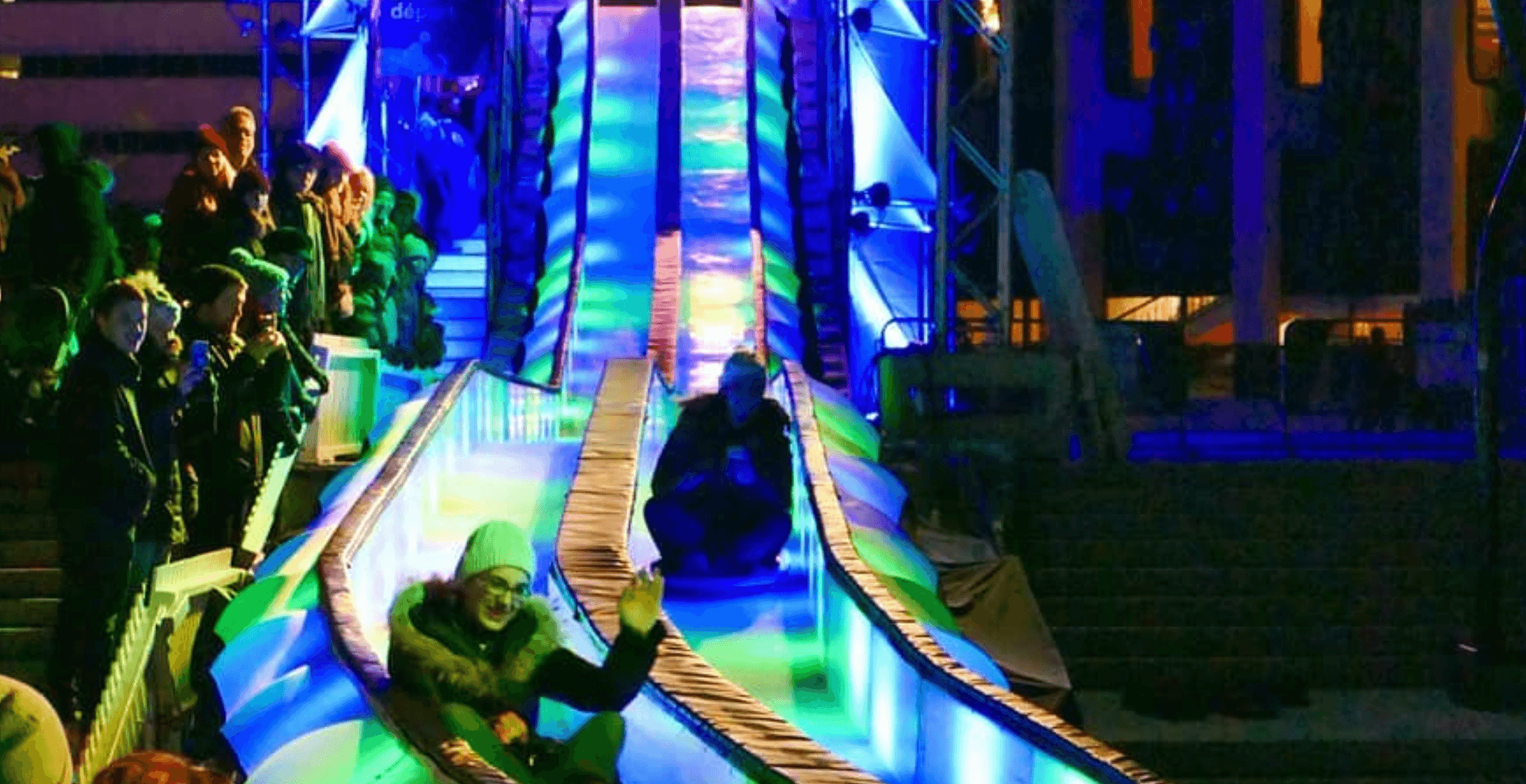 You can now ride down these giant light-up slides in Montreal