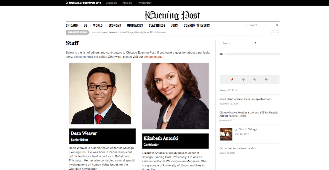Calgary city councillors appear on fake Chicago news site's masthead