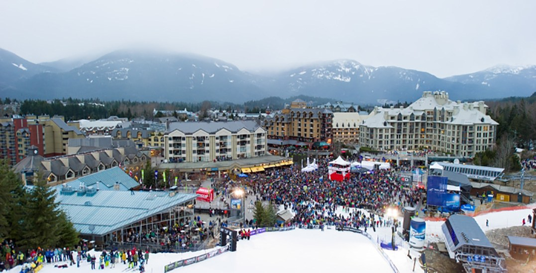 Big air crowd shot from whistler mountain photo credit mike crane tourism whistler