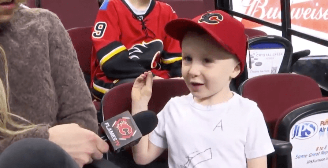 Adorable Flames fan given jersey after being spotted in homemade one