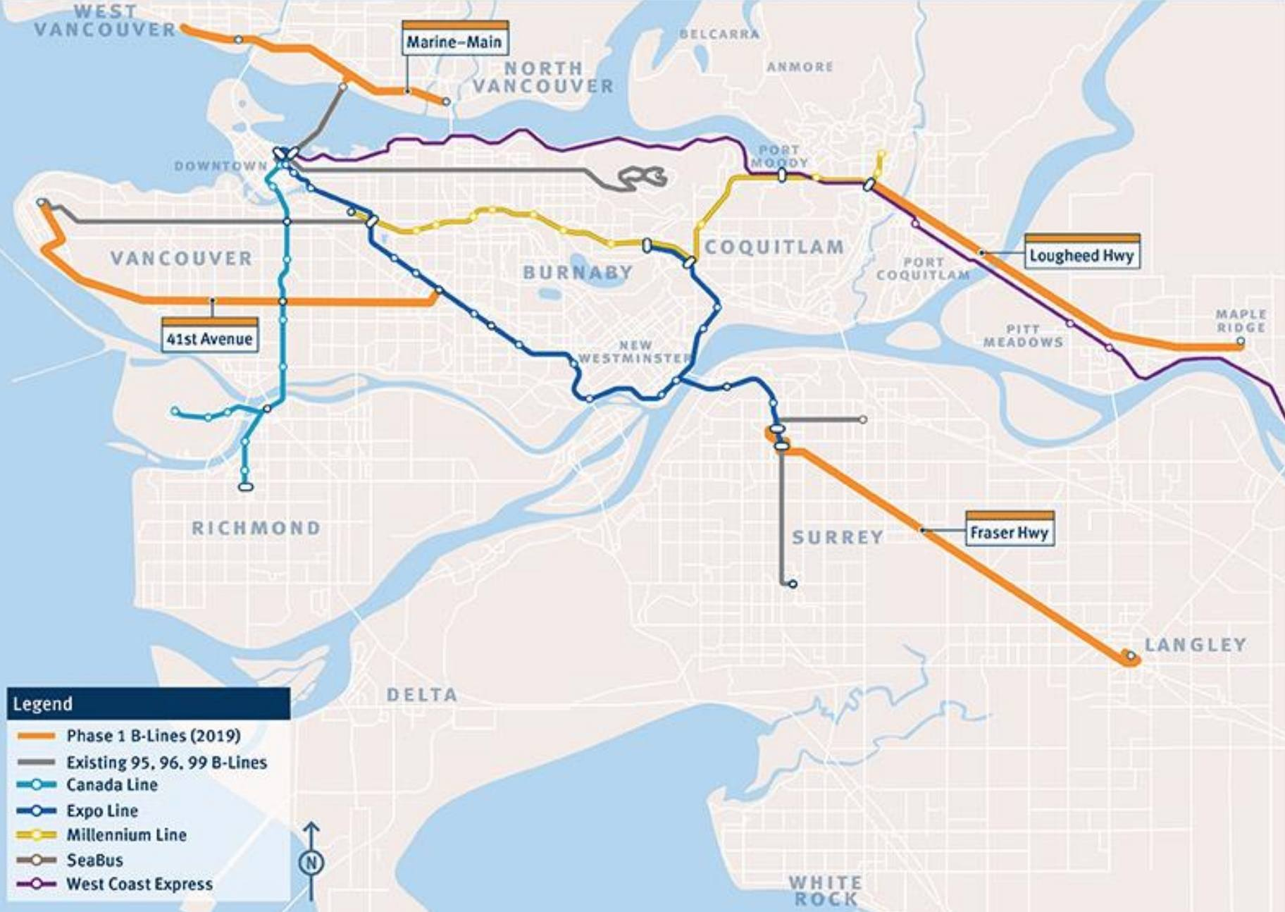 Map Of Canada Line Vancouver.4 New B Line Routes To Be Launched In Metro Vancouver By End Of 2019