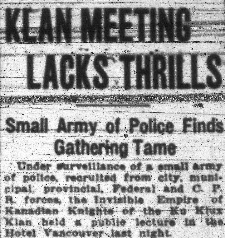 Headline for the KKK's lacklustre public meeting at Hotel Vancouver. Vancouver Sun, 13 November 1925.