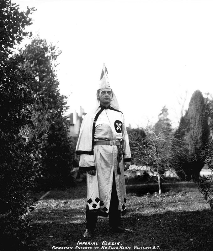 """Luther Powell, """"Imperial Klazik"""" of the Kanadian Knights of the Ku Klux Klan, Shaughnessy, 1925. Photo by Stuart Thomson, City of Vancouver Archives #99-1500."""