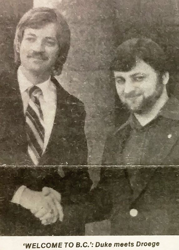 """""""Grand Wizard"""" David Duke and the organizer for Western Canada, Wolfgang Droege of Victoria. Vancouver Courier, 19 April 1979."""