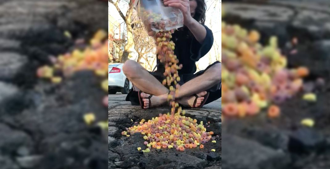 Canadian fed up with potholes decides to turn one into giant cereal bowl (VIDEO)