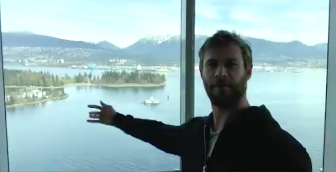 Chris Hemsworth impressed with the view from downtown Vancouver condo (VIDEO)
