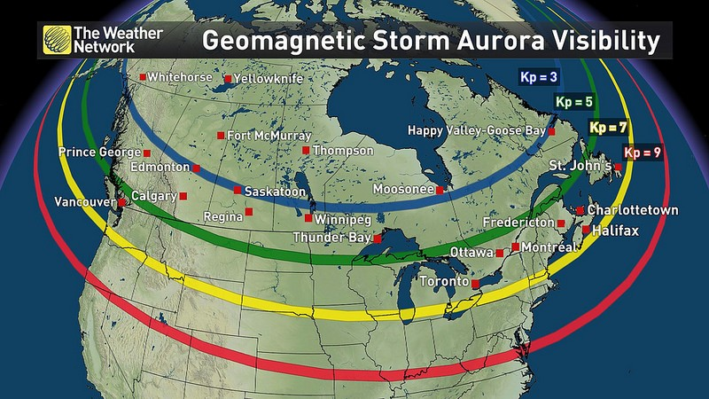 Map Of Aurora Canada Reminder: The Northern Lights could be visible over Canada tonight