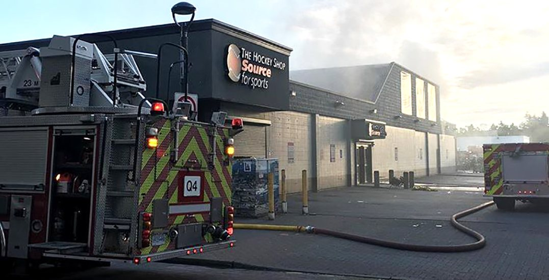 "Surrey police charge a man with arson for ""The Hockey Shop"" fire"