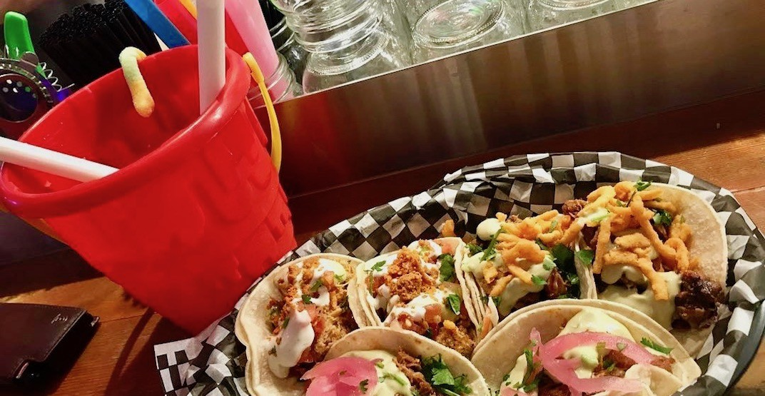 Get huge cocktails by the bucket at this cheap taco bar in Gastown