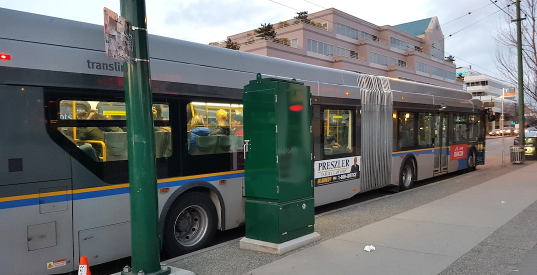 New utility box blocks rear bus doors on Metro Vancouver's busiest route