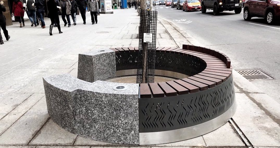 There's a prototype 'urban fire-pit' bench in Toronto (PHOTOS)