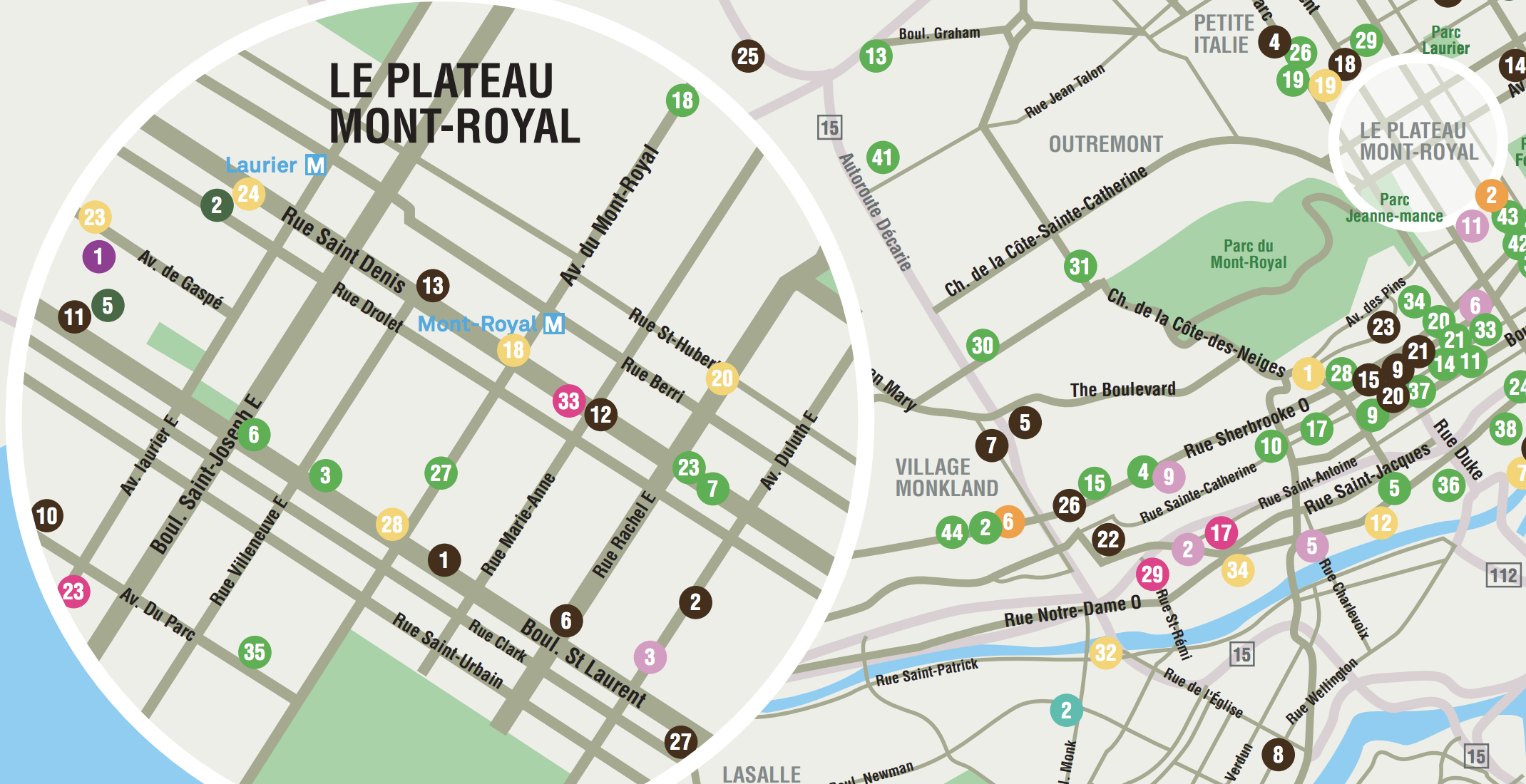 This vegan map shows all of Montreal's plant-based restaurants