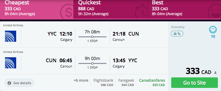 calgary to cancun