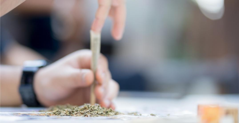 Rolling joint cannabis marijuana weed