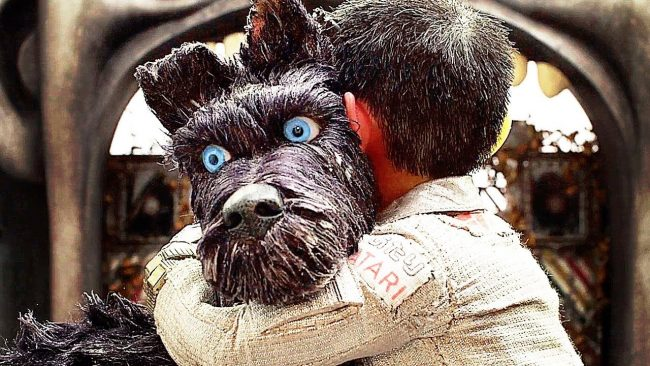 Atari hugging his new friend Chief in Isle of Dogs