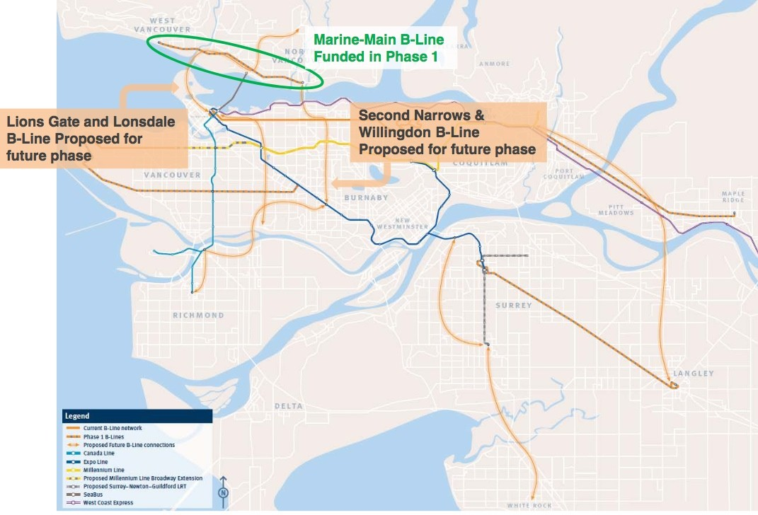 Map Of Canada Line Vancouver.6 More B Line Rapid Bus Routes Planned By Translink Urbanized