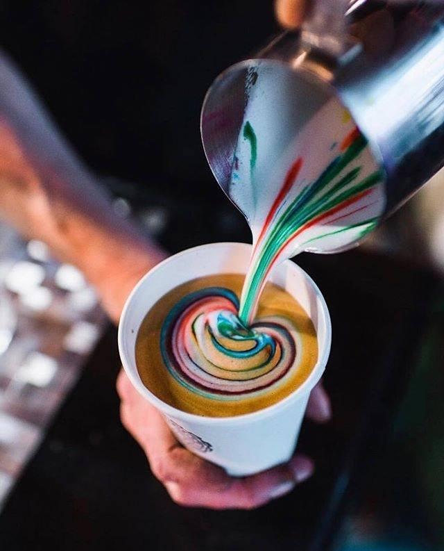 bulldog coffee rainbow lattes