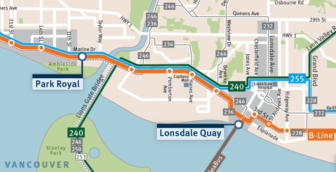 North Vancouver Map North Shore B Line will run from Dundarave to Phibbs Exchange (MAP