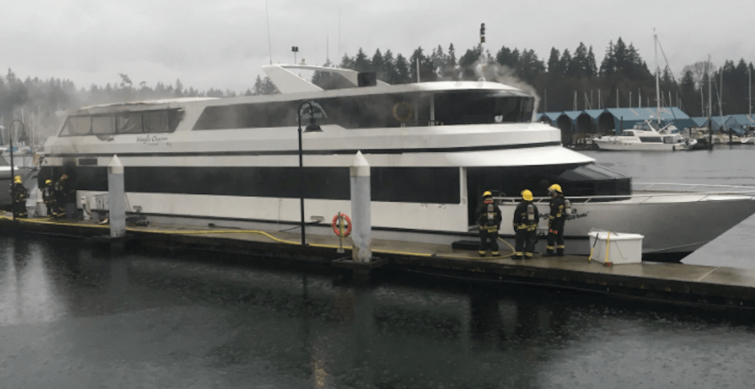 60-foot luxury yacht catches fire in Coal Harbour Thursday morning
