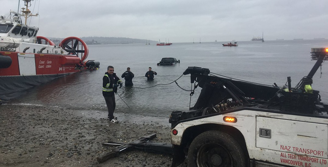 VPD haul stolen truck out of the waters of Kits Beach