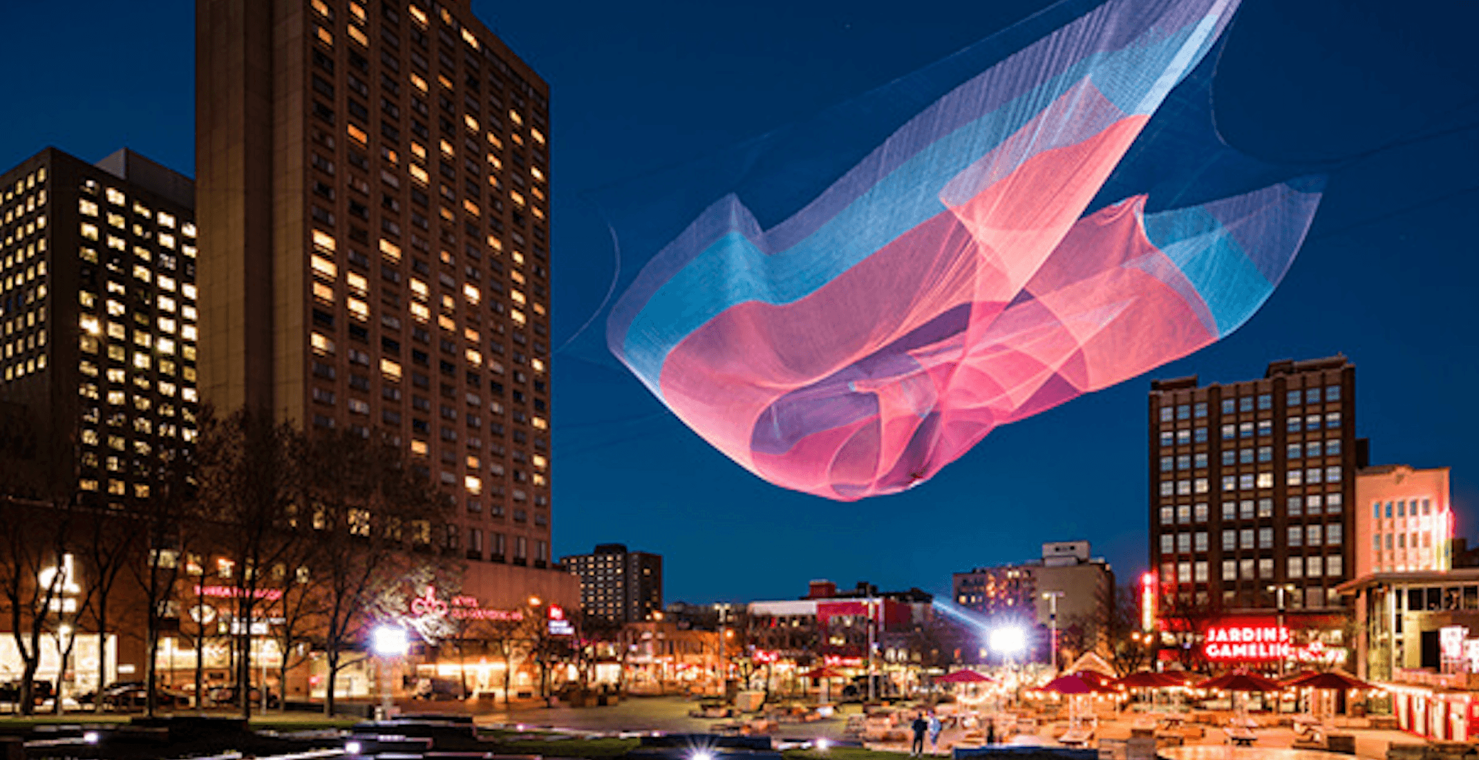 A mesmerizing art installation will light up over Place Émilie-Gamelin this spring (PHOTOS)