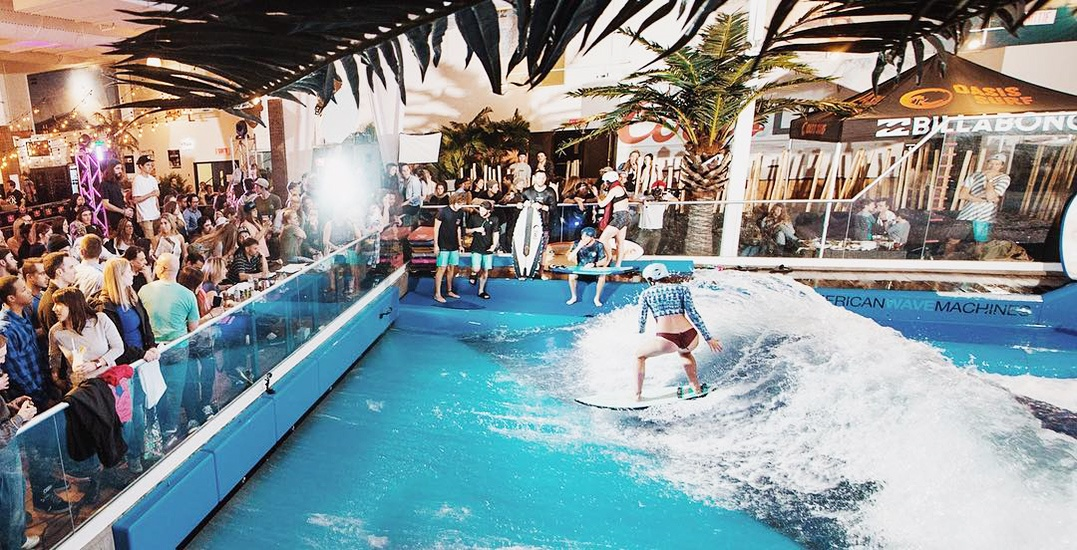 Escape the cold weather with this tropical bash and indoor surfing