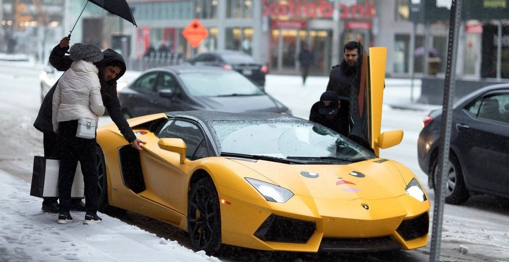 Pikachu Lamborghini spotted on Bloor Street during ice storm