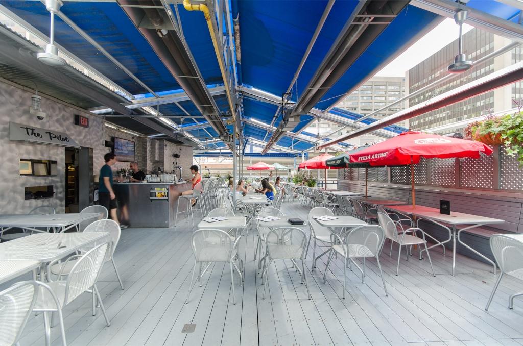 The Pilot flight deck rooftop patio