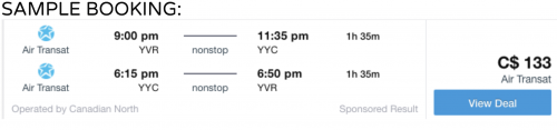 Vancouver to Calgary cheap flight