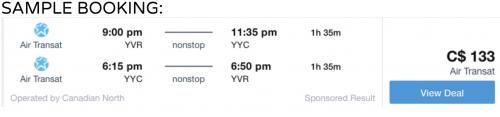 Vancouver to Calgary cheap flight