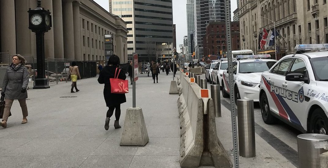 Police have set up concrete barriers around busy pedestrian zones