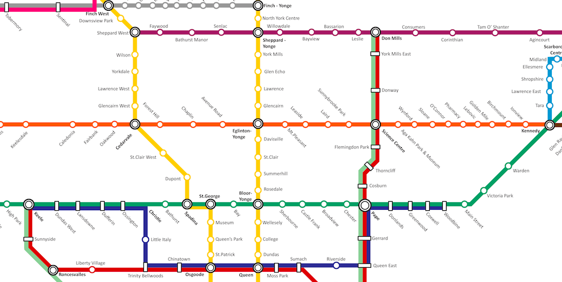 Fantasy Toronto Subway Map.Someone Made A Ttc Map With Almost All The Unbuilt And Planned Lines