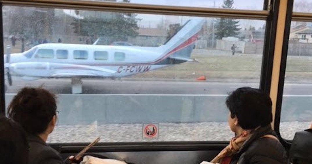Plane forced to make emergency landing in the middle of major Calgary street (PHOTOS)