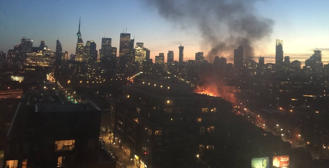 Firefighter injured as crews battle massive 3-alarm blaze at Toronto townhouse