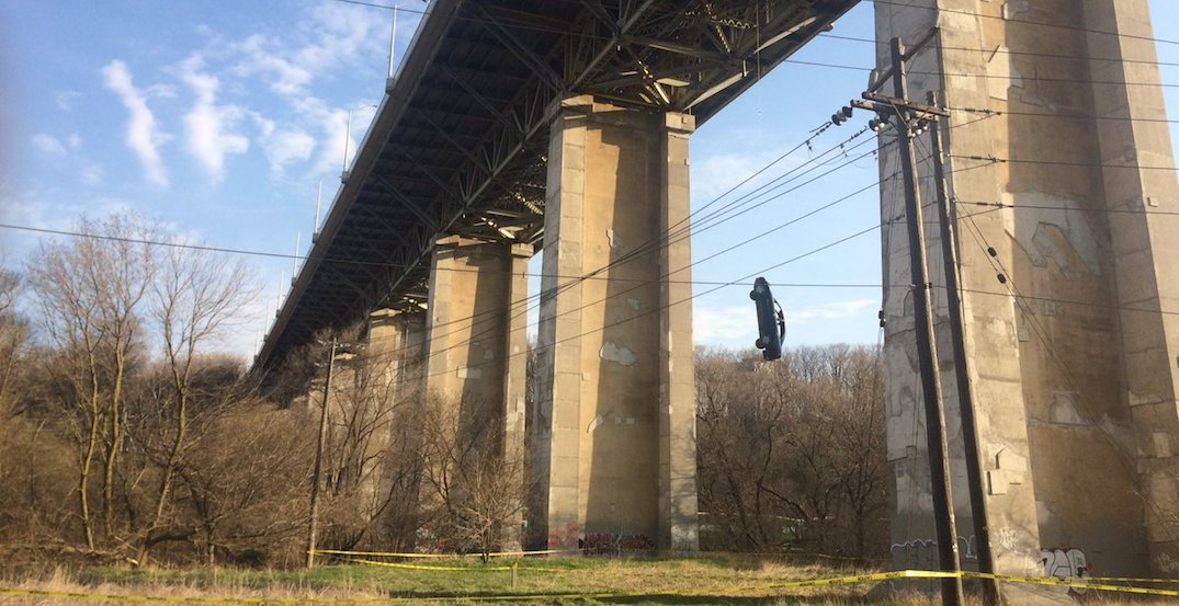 Car dangling over Bloor viaduct is for a movie shoot: Police