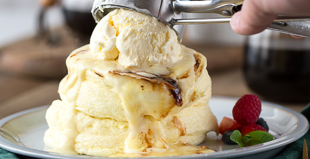 Creme brulee pancake with ice cream