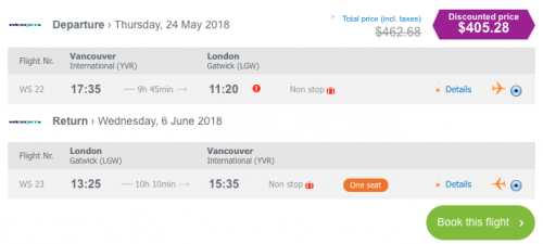 cheap flights vancouver to london