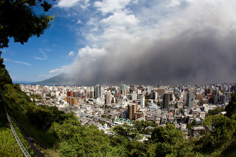 Kagoshima City, Japan volcano